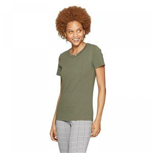 NWT A New Day Ribbed Crewneck T-Shirt Large Olive